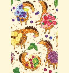 fantasy belgian waffle in form a giraffe vector image