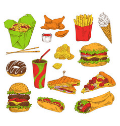 Fast food and snack set color vector