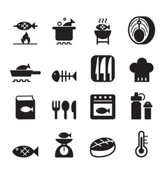 Fish cooking icon set vector