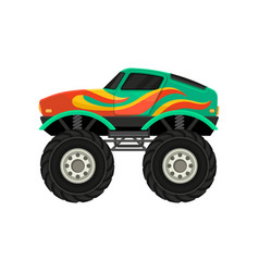 Flat icon of monster truck with large tires vector