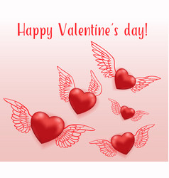 flying red hearts with wings vector image