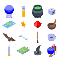 Fortune teller icons set isometric style vector