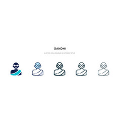 Gandhi icon in different style two colored and vector
