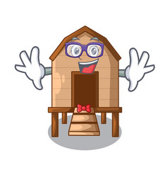 Geek chicken coop isolated on a mascot vector