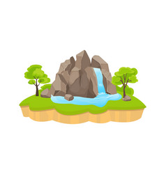 green island with waterfall large rock blue vector image