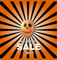 halloween sale card with air balloons vector image