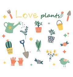 Hand drawn plant collection planting decorative vector