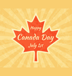 Happy canada day on maple leaf greeting card for vector