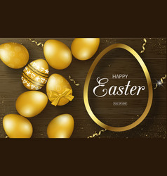 happy easter background with golden eggs frame vector image