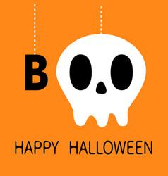 happy halloween hanging word boo text skull vector image