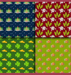 happy holidays different seamless pattern vector image