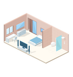hotel bedroom cross section vector image