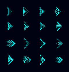 Hud arrows futuristic navigation pointers set vector
