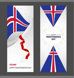 iceland happy independence day confetti vector image