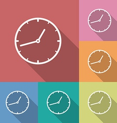 Icon of Clock Flat style Long shadow vector image