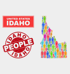 Idaho state map population people and corroded vector