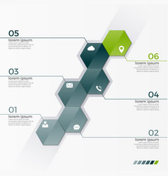 Infographic template with 6 hexagons vector