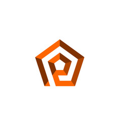 Initial letter p logo template with pentagonal vector