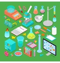 Isometric Chemical Research Elements Set vector image