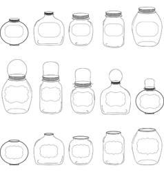 Jars set jar with label silhouettes vector