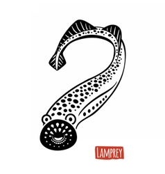 Lamprey black and white vector image