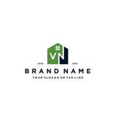 Letter vn home logo design vector
