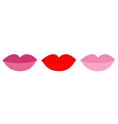 Lips with red rose nude lipstick rouge set line vector