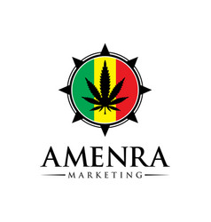 marijuana logo design on flag vector image