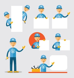 Mechanic Show and Present Blank Signs vector