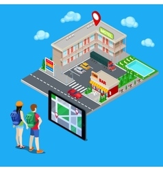 Mobile navigation couple tourists vector