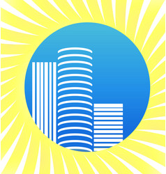 modern city apartments and buildings icon vector image
