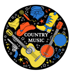Music sticker western country festival illu vector