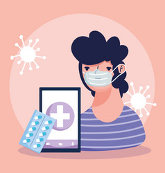 online doctor patient smartphone packing medicine vector image