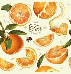 Orange tea seamless pattern vector