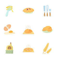 Pastries icons set cartoon style vector