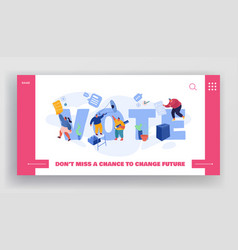 people putting paper vote into ballot box male vector image