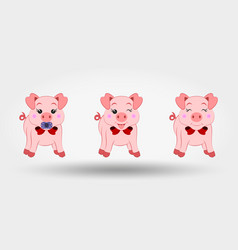 Pigs with red bows set icon vector