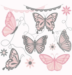 Pink and Grey Butterfly Collections vector