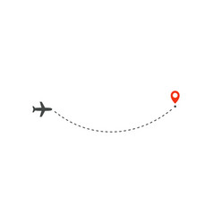 plane way icon airplane arc path line direction vector image