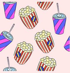 pop corn and soda doodles colorful seamless vector image