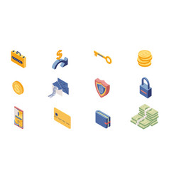Private account access icons isometric set online vector