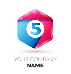 Realistic number five in colorful hexagonal vector