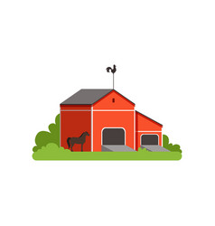 red barn rural farm building countryside life vector image