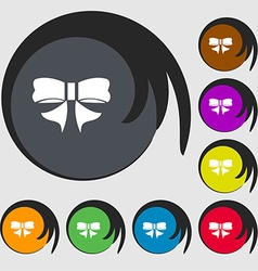 Ribbon Bow icon sign Symbols on eight colored vector image