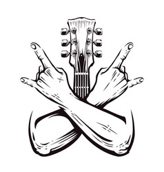 Rock crossed hands vector