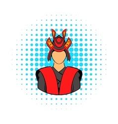 Samurai icon in comics style vector image
