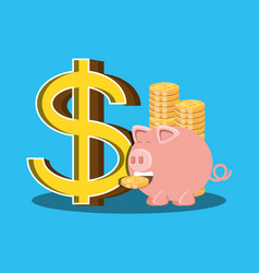 saving piggy and coins isolated icon vector image