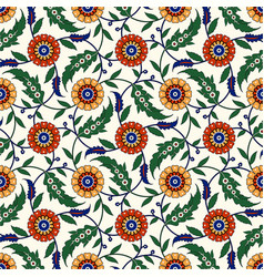 seamless ethnic ornament floral background vector image