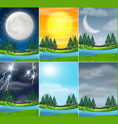 set nature landscape different weather vector image