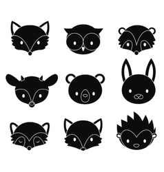 Set of cartoon woodland animals heads vector